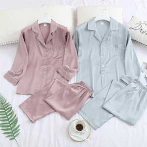 Silk Satin Pajama Set Couples Long Sleeve Male Sleepwear Women Pajamas Pijama Pyjamas Men's Pajamas Homewear M-3XL