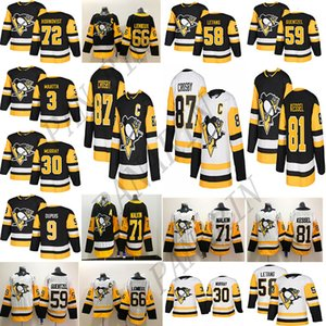Pittsburgh Penguins Sidney Crosby 87 71 Evgeni Malkin 58 Kris Letang 59 Jake Guentzel 72 Patric Hornqvist Uomini traspirante Hockey maglie
