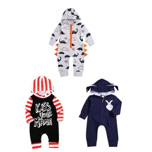 Baby Rompers Clothes Printed Stripe Cartoon Hooded Siamese Long Sleeve Jumpsuits Knitting Pullover Zipper Shirt 40