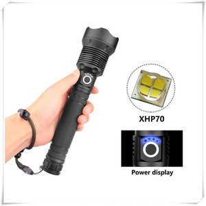 Lanterna Ultra Bright Lanternas Tochas XHP70 alta Powerful Zoomable Foco LED Lanterna Tocha Luz Sem bateria