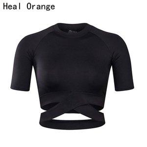 HEAL ORANGE Женщины Йога рубашки Sexy Спорт Топ Стиль Фитнес Crop Top Solid Running Shirt Спорт Тренажерный зал Одежда Топы Спортивная