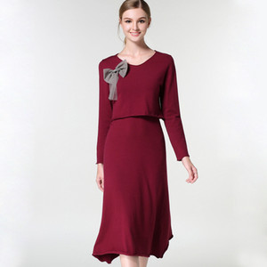 Pop2019 Mercado Best Sellers Bow Saia De Tricô Hangzhou Suit-dress Fornecimento de Camisola Commodity Europa Estação Terno