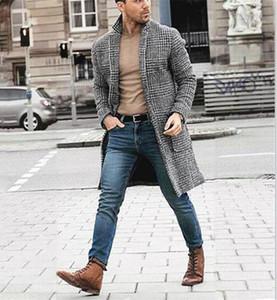 Mäntel Mode-Winter-lange Wollmäntel beiläufige warme Strickjacke Mäntel Manteaux Gießen Hommes Herren-Designer-Plaid