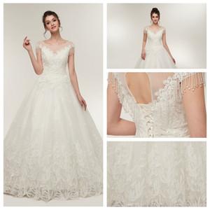MS640 A-Line Cordón Apliques vestidos largos para la fiesta de boda Hermosa rebordear vestidos de boda 2019 vestidos de novia de la boda sin respaldo Dres de la vendimia