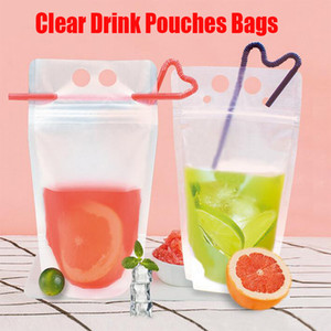 Clear Drink Pouches Bags frosted Zipper Stand-up Plastic Drinking Bag With Straw Holder Reclosable Heat-Proof Juice Coffee Liquid 17OZ