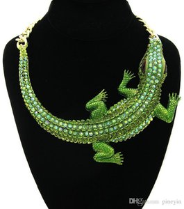 Exaggerated Crocodile Rhinestone Choker Necklace for Women Cute Animals Big Chunky Maxi Necklaces Collares Collier Femme Bijoux NE859