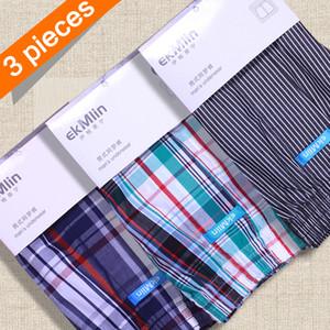 Boxers Shorts Roupa Interior Listrado manta 50s dos homens ekMlin 3-Pack fio penteado 100% de tecido de algodão N Y200415