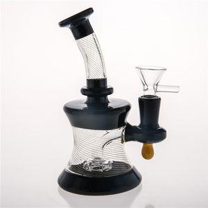 15 cm Plataformas petroleras Bong de vidrio Rayado negro Dos tubos de agua de vidrio de Fuction Conjunto 14.4mm Arco Cubilete Smokiing Pipes Envío gratis hookahs