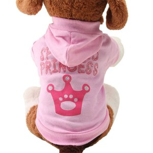 Zero 2017 New Pink Pet Dog Clothes Crown Pattern Puppy Clothing Coat Hooded Cotton T Shirt Purchasing NEW B7718