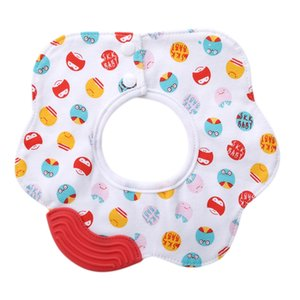 1pc Cotton Bibs with Silicone Teether Cartoon Burp Cloths BPA Free Baby Stuff Things Silica Gel Teether Bib Ring Saliva Towel