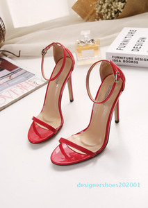 Stiletto, one-word open-toe sandals, women 2018 summer hollow-out women shoes trade new European and American plus-size high heels d01