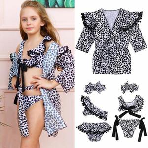Mode Kids Baby Mädchen Leopard Print Bikini Bademode Kap Mantel Badeanzug Beachwear Tarette Mädchen Badeanzug x