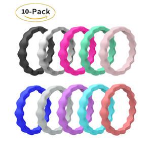 10 Wedding Ring pacchetto del silicone per le donne, sottile impilabile Elastico, moda, colorato, il massimo comfort, Safe Skin MOQ basso