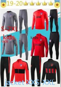 2019 Adult +kids Atletico giacca della tuta da calcio 19 20 Atletico MadridCosta maillot de football cerniera lungo tuta tuta Size XXS-2XL