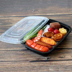 Новый фаст-фуд вынимают контейнеры пищевые упаковочные коробки черный прямоугольник одноразовые обеды обеды коробки кухонные принадлежности высокое качество 85hy
