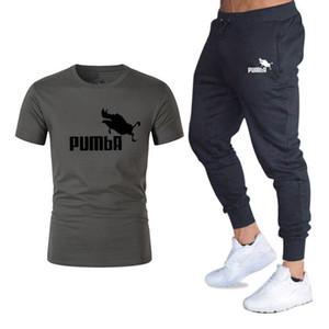 여름 세트 Pumba 그래픽 t- 셔츠 + 바지 남자 브랜드 의류 2piece 양복 브랜드 Tracksuit 유행 캐주얼 셔츠 M-2XL 설정