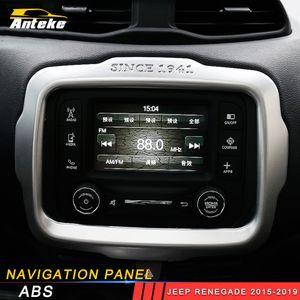 Per Jeep Renegade 2015 2016 2017 2018 2019 GPS auto decorazione coperchio del pannello di navigazione Trim Telaio Sticker Accessori Interni