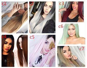 Высокотемпературные синтетические парики парик дамы окрашенный черный градиент винно красный в длинных прямых волосах colorin stock FZP120