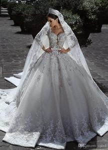Vestidos De Novia Vintage-Luxus Ballkleid lange Hülsen-Spitze African Plus Size Muslim Brautkleider Perlen Zuhair Murad Brautkleider