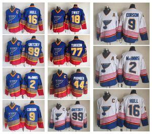 Vintage St. Louis Blues Hockey Jerseys 99 Wayne Gretzky 2 AL MacINIS 9 Shayne Corson 16 Brett Hull Retro CCM Jerseys cosidos