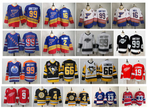 Vintage Jersey de blues de St Louis Wayne Gretzky Brett Hull Mario Lemieux Penguins de Pittsburgh Teemu Selanne Howe Bobby Orr Patrick Roy CCM Hockey