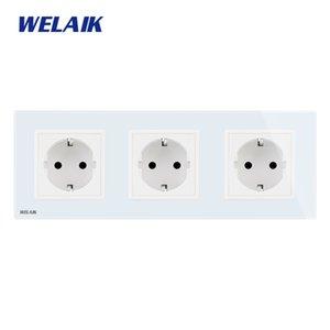 WELAIK 3Frame-europeu-Standard Power-soquete Glass-Panel UE Wall-soquete de parede saída 16A-soquete AC110 ~ 250V A38E8E8EW Y200407