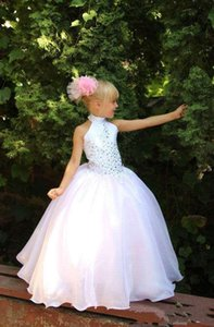 Cute Flower Girls Dresses Weddings Cheap High Neck Girls Pageant dresses With Colorful Rhinestone Princess party Communion Gowns