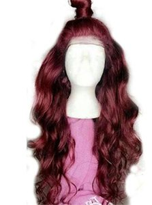 Red Body Wave Wigs Lace Front Wigs Natural Synthetic Long Wigs Heat Resistant Fiber Hair 99J Color for Black Women