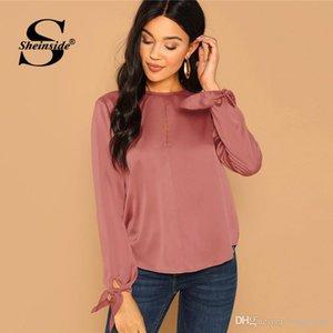 Sheinside Zarif Pembe Saten Bluz Kadınlar 2019 Bahar Keyhole Geri Katı Düğme Üst Bayanlar Casual Yay Düğüm Kol Bluzlar