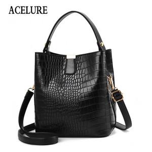 Crocodile Crossbody Bag por Mulheres Shoulder Bag Designer Mulheres Luxo PU Leather Bucket Handbag Mensageiro ACELURE