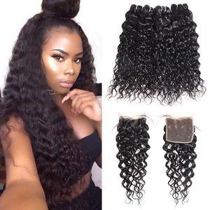 Brazilian Water Wave Human Hair Bundles With Closure Peruvian Wet and Wavy Hair 4 Bundles Malaysian Body Wave Deep Loose Hair Extensions