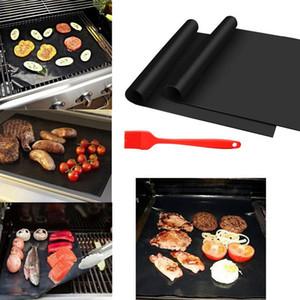5PCS Siyah Ekstra Kalın Isıya Dayanıklı teflon Barbekü Grill Mat Pişirme Yeniden kullanılabilir Yapışmaz Barbekü Izgara Sac Liner barbekü Araçlar Pişirme