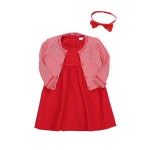 Baby Girl Robes manteau solide Ruffle tricot Cardigan Robe rouge avec bandeau bébé fille Vêtements pour enfants vêtements décontractés filles 07