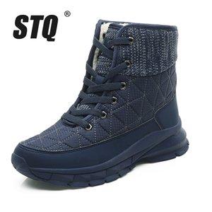 STQ felpa tobillo nieve caliente invierno de las señoras zapatillas de deporte de los zapatos de las mujeres cómodas cuñas Botas Negro 930 MX200324