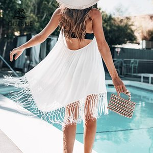 CUPSHE White Backless Cover Up With Tassels Sexy V-neck Lace Up Halter Beach Dress Women 2020 Summer Bathing Suit Beachwear CX200606