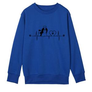 Neue Herbst Lustige Shih Tzu Hoodies Frauen Fleece Niedlichen Herzschlag Hund Sweatshirts Mädchen Weibliche Tier Pullover OZ-031