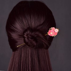 Simple Coloured Glaze Synthetic Flower Temperamental Hair Jewelry Ancient The Tang Dynasty Palace Princess Step Shake