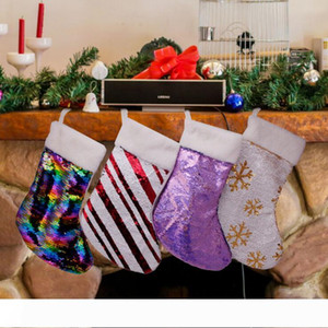 Sequin Christmas Stocking Christmas gift bag Hanging party Xmas tree Decoration candy bags Holder Lovely Sequined glitter sock XHCFYZ108