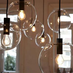 Modern Clear Glass Ball Pendant Lights Globe Glass Pendant Lamps LED E27 light Fixtures For Living Room Kitchen Lustre