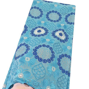 Schweiz Swiss Cotton Voile Stoff Spitze-Material Sky Blue Afrikanerin Spitze-Gewebe-Creme Dubai Neueste African Latsch 2019