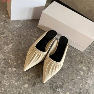 Low heel pointed toe single shoe female 2020 spring and summer lazy person bag head half drag slippers With high-end packaging