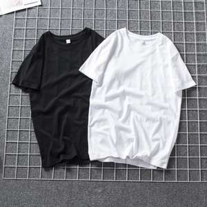 Court Blank T-shirt manches coton Coupe ample Homme étudiant Grande simple couleur unie manches mi-longues col rond GG50tx Bestselling