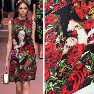2YDS Lot Hot Sales 2020 The Kingdom Of Love Digital Painting Jacquard Tapestry Satin Fabric For Dress Tissue Bright Cloth