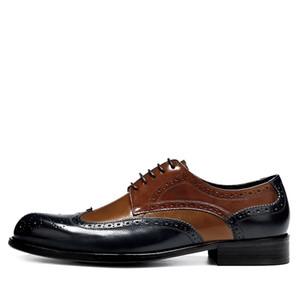 2019 Italian Men Dress Brogue Blue Retro Oxford Shoes Men Formal Shoes Genuine Leather Wedding Shoes chaussure en cuir