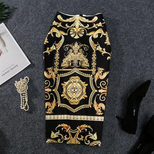 2020 Nouvelle-été à venir d'Europe Femmes Imprimer Jupe crayon haute stretch Résumé modèle Midi Slip hanche Jupe Femme