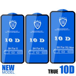 Pantalla 10D cubierta completa del protector de la pantalla 9H vidrio templado de fibra de carbono protector para el iPhone X 6 7 8 6s Plus X Max
