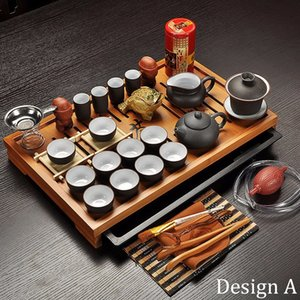 Jingdezhen Purple Clay Kung Fu Tea Set Drinkware Tea Cup,Tureen Infuser,Chinese Ceremony with Gaiwan,Chahai Tea Table