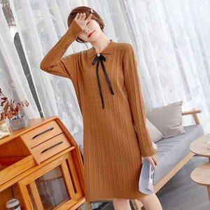 DMLFZMY mujeres hizo punto el vestido 2020 otoño invierno vestido de punto con cuello en V con capucha suéter manga larga sólida