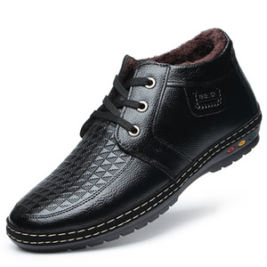 Uomini Pu Leather Lace-up dei pattini casuali di alta qualità pelliccia peluche Uomini Vintage British stivali militari Autunno Inverno Plus Size 38-44% 669