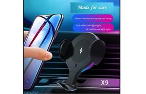 Nuovo X9 caricatore senza fili staffa del telefono mobile senza fili dell'automobile sensore a infrarossi auto professionale del caricatore della lampada di respirazione auto ciclo di 7 colori